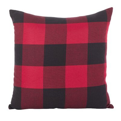 Corina Buffalo Cotton Throw Pillow Color: Red
