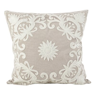 Baltic Floral Embroidery Motif Cotton Throw Pillow Color: Ivory
