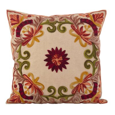 Baltic Floral Embroidery Motif Cotton Throw Pillow Color: Red/Green