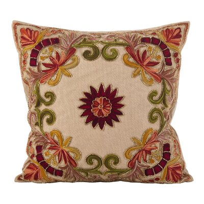 Baltic Floral Embroidery Motif Beaded Cotton Throw Pillow Color: Multi