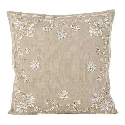 Riley Beaded Sequin Flower Motif Cotton Throw Pillow