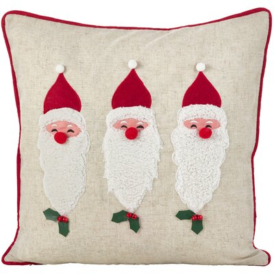 Houx De Noel Santa Claus Trio 3D Holiday Christmas Throw Pillow