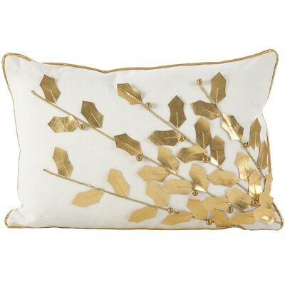 Petronella Branch Christmas Holiday Lumbar Pillow Color: Gold