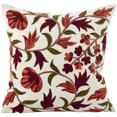 Mccord Floral Embroidered Flourish Cotton Throw Pillow