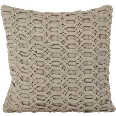 Kirby Smocked Textured Cotton Thow Pillow Color: Taupe