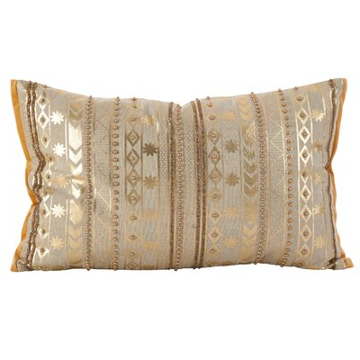 Prescot Beaded Metallic Cotton Throw Pillow