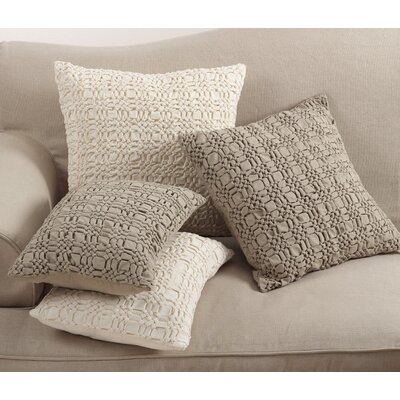 Allisin Smocked Cotton Lumbar Pillow Color: Taupe