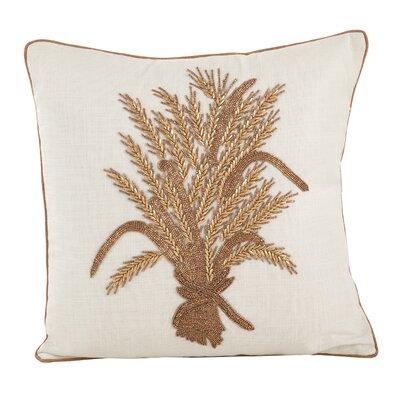 Flori Beaded Thanksgiving Harvest Cotton Throw Pillow