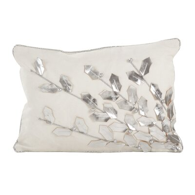 Petronella Branch Christmas Holiday Lumbar Pillow Color: Silver