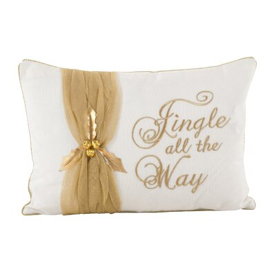 Jingle All the Way Christmas Design Decorative Cotton Lumbar Pillow Color: Gold
