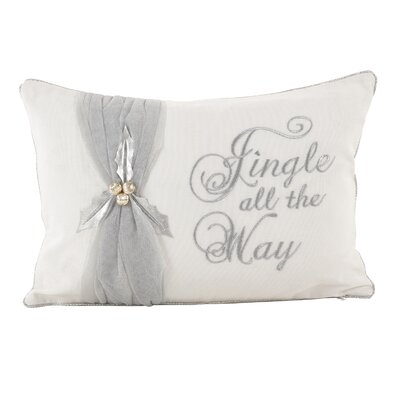Jingle All the Way Christmas Design Decorative Cotton Lumbar Pillow Color: Silver