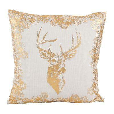 Esme Metallic Foil Reindeer Design Decorative Cotton Throw Pillow