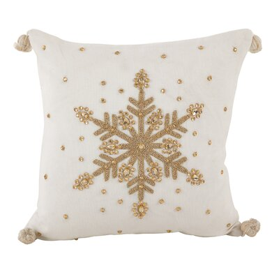 Jeweled Snowflake Design Pom Pom Decorative Cotton Throw Pillow Color: Gold
