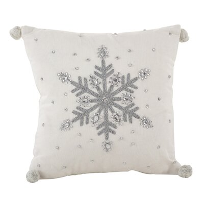 Jeweled Snowflake Design Pom Pom Decorative Cotton Throw Pillow Color: Silver