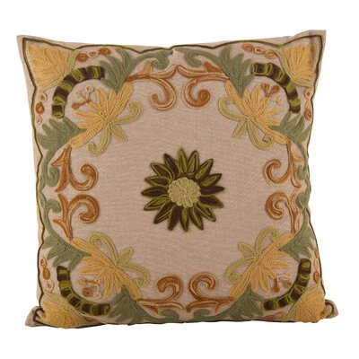 Baltic Floral Embroidery Motif Cotton Throw Pillow Color: Green/Yellow