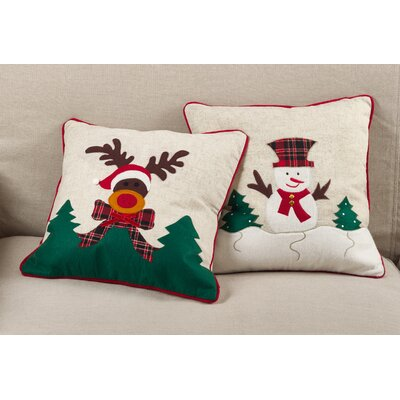 Baylee Christmas Reindeer Applique Design Decorative Throw Pillow