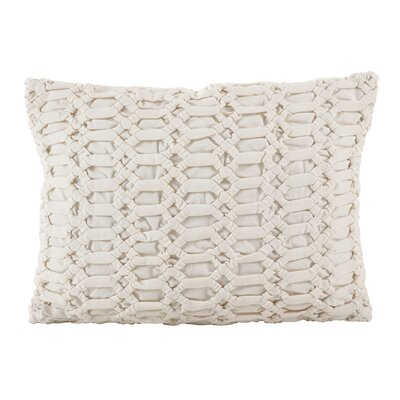 Kirby Smocked Textured Design Decorative Cotton Lumbar Pillow Color: Ivory