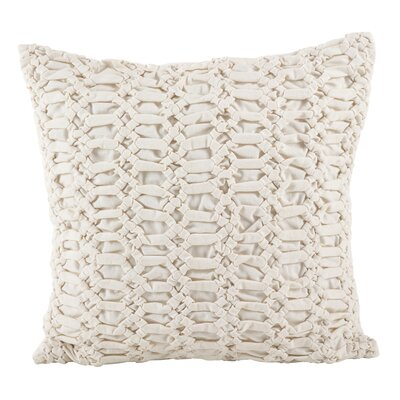 Bemelle Smocked Textured Cotton Thow Pillow Color: Ivory