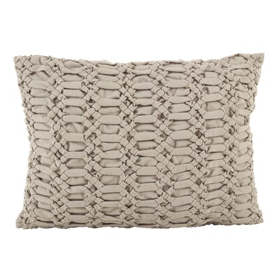 Donquez Smocked Textured Design Decorative Cotton Lumbar Pillow Color: Taupe