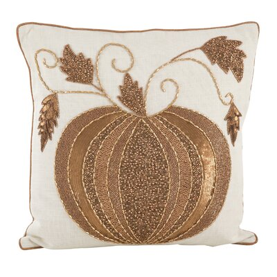 Sarepta Beaded Pumpkin Cotton Throw Pillow