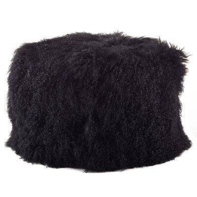 Mongolian Lamb Fur Pouf Ottoman Upholstery: Black