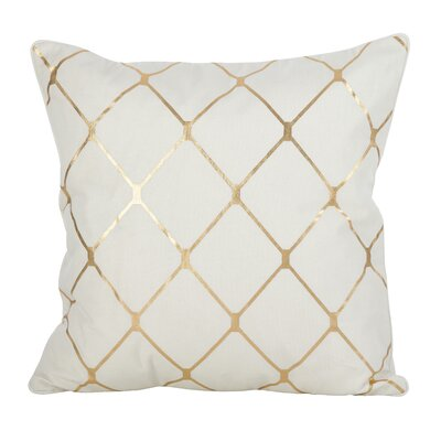 Sawyer Metallic Diamond 100% Cotton Throw Pillow Color: Gold