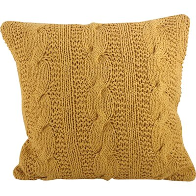 Cable Knit Cotton Throw Pillow Color: Saffron