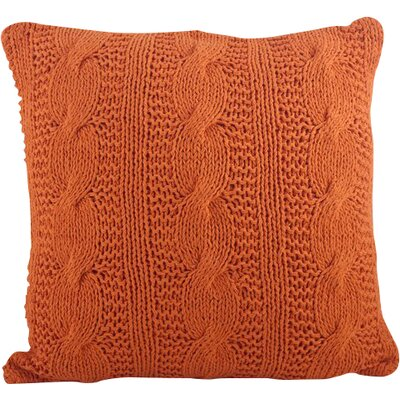 McKenna Cable Knit Cotton Throw Pillow Color: Tangerine