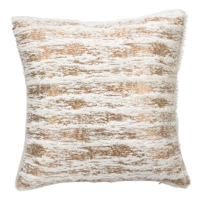 Ripple Textured Faux Fur with Brushed Metallic Foil Print Throw Pillow Size: 15