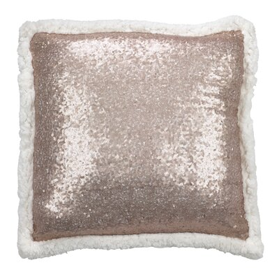 Dollard Shimmering Sequin with Sherpa Trim Throw Pillow Color: Champagne