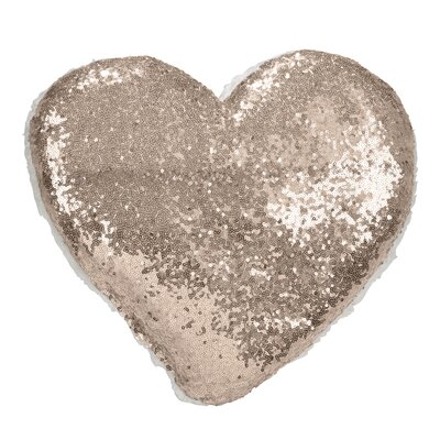 Jepson Shimmering Heart Design Sequin and Sherpa Throw Pillow Color: Champagne