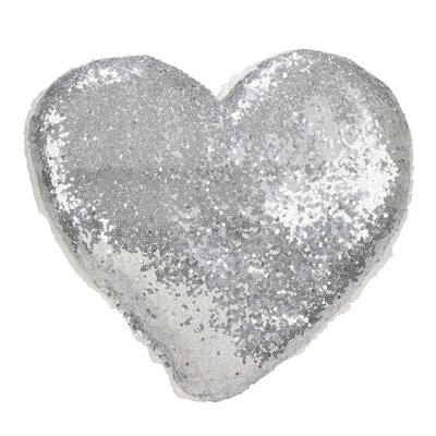 Jepson Shimmering Heart Design Sequin and Sherpa Throw Pillow Color: Silver