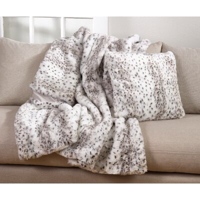 Dravis Plush Spotted Poly Filled Faux Fur Throw Pillow