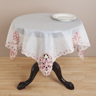 """Jean Embroidered and Cutwork White Table Topper Size: 54"""" LRKM2448 39874457"""