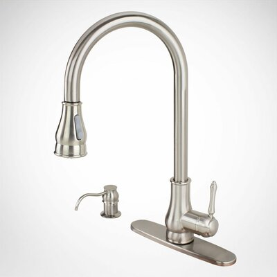 Single Handle Kitchen Sink Faucet with Swivel Spout Dispenser Cover