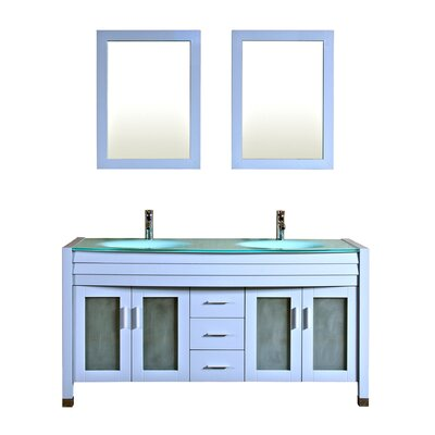 Amriel 63 Double Bathroom Vanity with Mirror