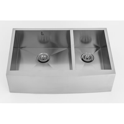 33 x 21 Farmhouse Apron Front Stainless Steel Double Bowl Kitchen Sink