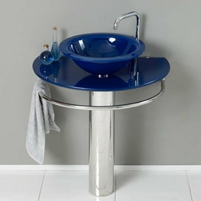 Glass 35 Pedestal Bathroom Sink with Faucet