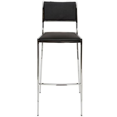 Aaron 24.75 Bar Stool Upholstery: Black