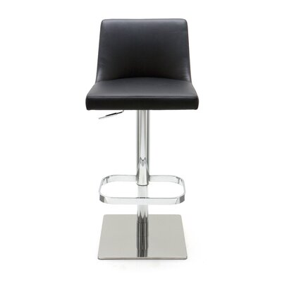 Rome Adjustable Height Swivel Bar Stool Upholstery: Black