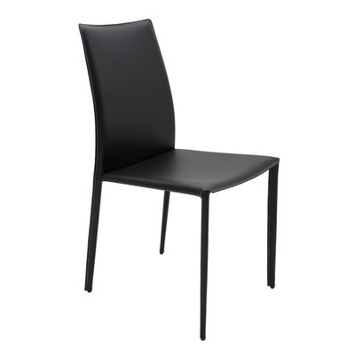Sienna Genuine Leather Upholstered Dining Chair Upholstery: Black