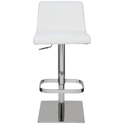 Rome Adjustable Height Swivel Bar Stool Upholstery: White