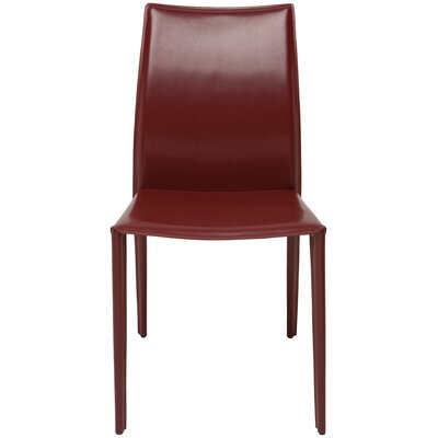 Sienna Genuine Leather Upholstered Dining Chair Upholstery: Bordeaux