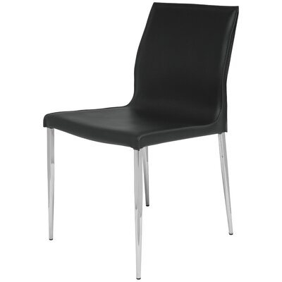 Colter Genuine Leather Upholstered Dining Chair Upholstery: Black