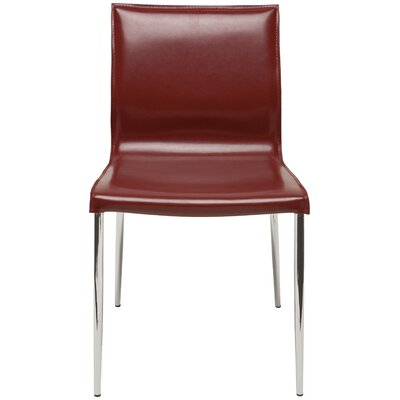 Colter Genuine Leather Upholstered Dining Chair Upholstery: Bordeaux