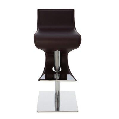 Portland Adjustable Height Bar Stool Upholstery: Brown