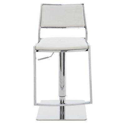 Aaron Adjustable Height Swivel Bar Stool Upholstery: White