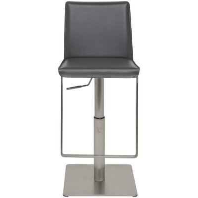 Adjustable Height Swivel Bar Stool Upholstery: Grey