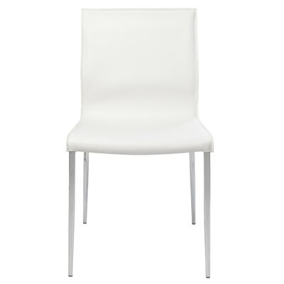 Colter Genuine Leather Upholstered Dining Chair Upholstery: White