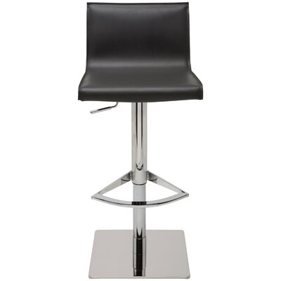 Colter Adjustable Height Swivel Bar Stool Upholstery: Black